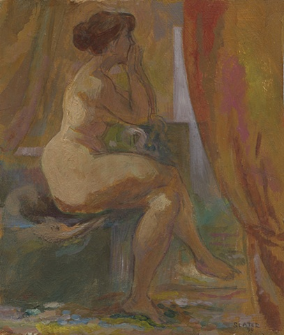 Seated woman in interior