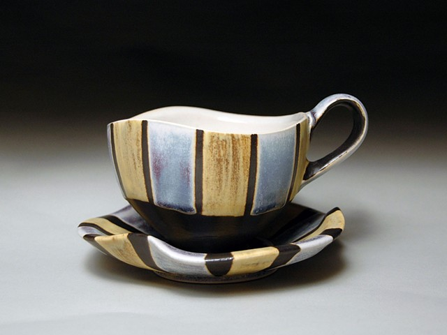 Blue and Yellow Striped Cup and Saucer