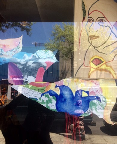 You Broke the Ocean in Half,  final window installation integrating women's words and paintings