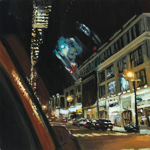 Oil painting of New York street from a taxi window