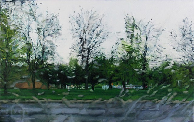 Oil painting of trees through a rainy windshield