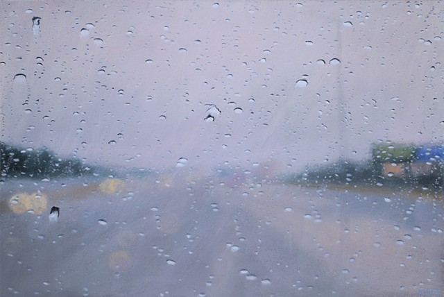Oil painting of a freeway in the rain through a windshield