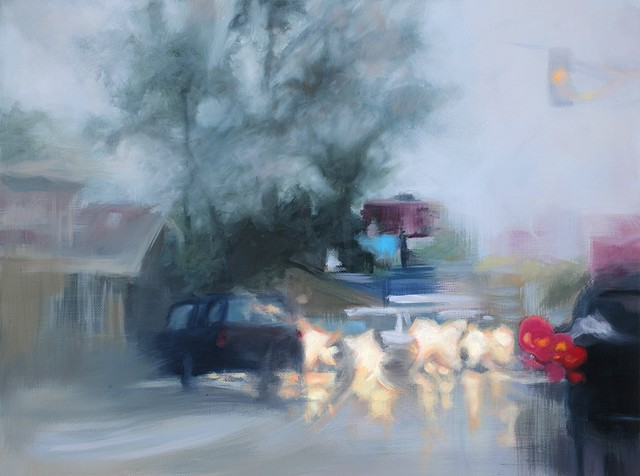 oil painting of an intersection in the rain