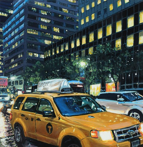 Taxi on rainy New York Street, oil painting by Karen Woods