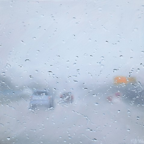Painting of cars and a highway in fog and rain.