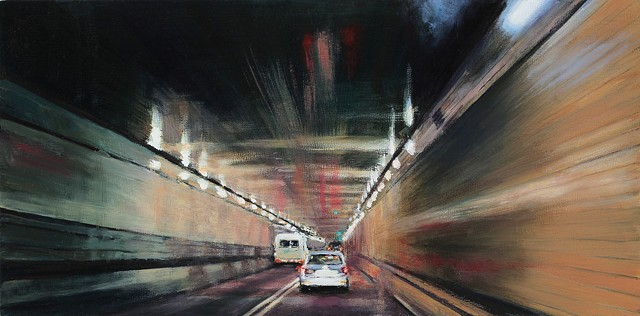Lincoln Tunnel oil painting.