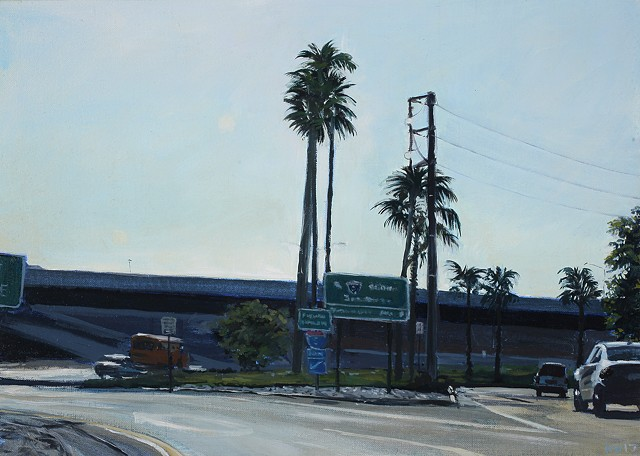 Los Angeles freeway streetscape oil painting