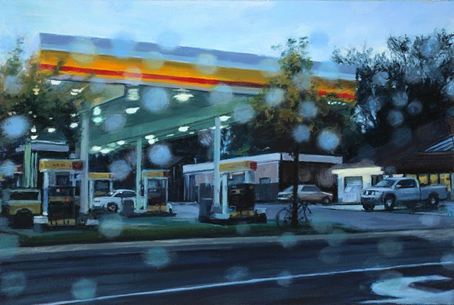 Oil painting of a gas station in the rain.