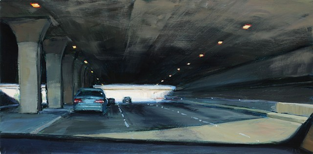 A painting of a freeway overpass through a car windshield.