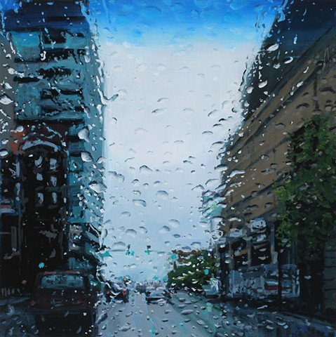 Painting of a rainy windshield in downtown Boise Idaho