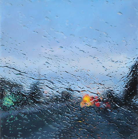 painting of a rainy street by karen woods
