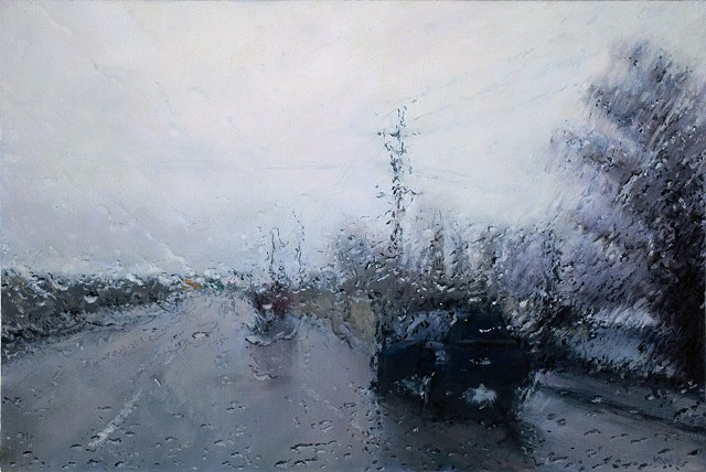 Oil painting of a freeway in the rain through the windshield.