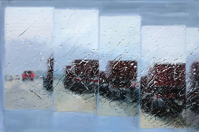 painting of a red truck in the rain on a highway