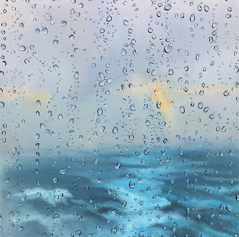 Seascape oil painting through the rain
