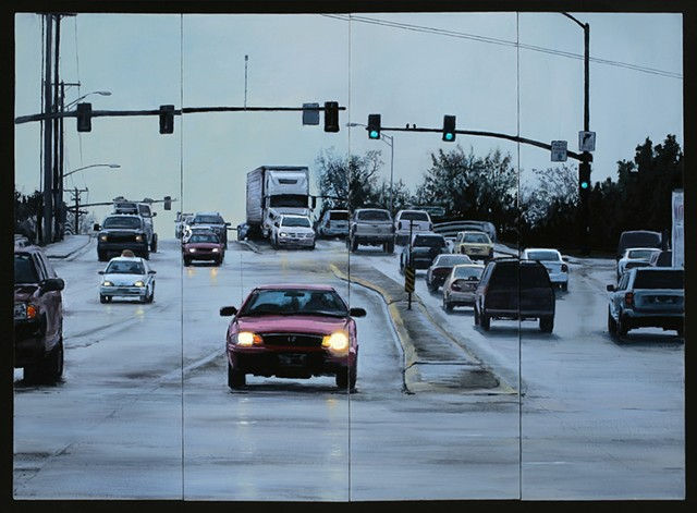 A streetscape oil painting with cars and rainy road.