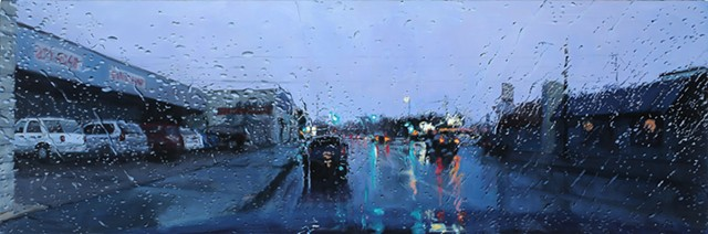 Oil painting streetscape through a rainy windshield