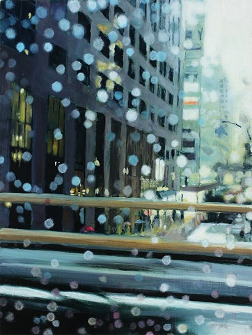 New York City streetscape in the rain, oil painting