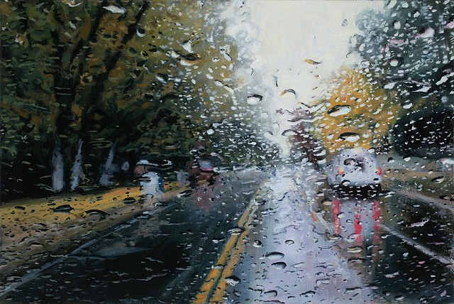 Oil painting of a car through a windshield in the rain in the fall.
