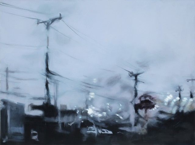 oil painting of a car dealership in the rain