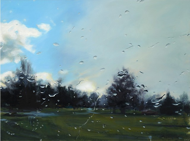 Rainy day park oil painting