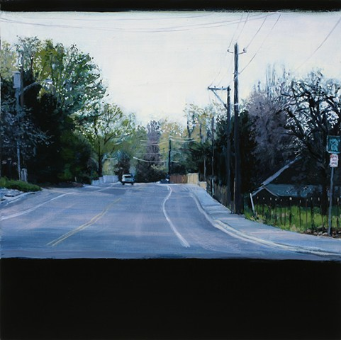 hill road oil painting
