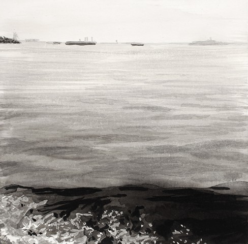 seascape ink drawing