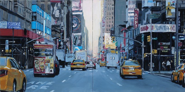 oil painting of a New York City streetscape