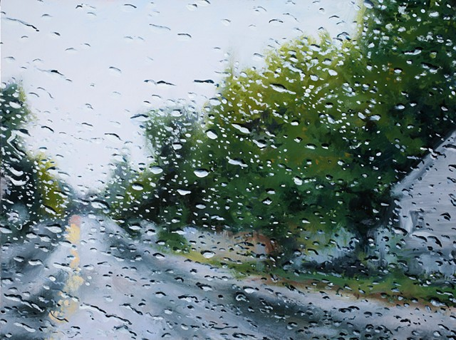 oil painting of a rainy street