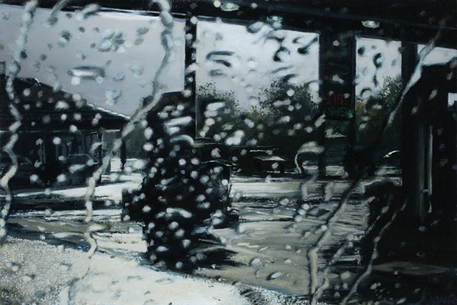Oil painting of a gas station through the windshield in the rain