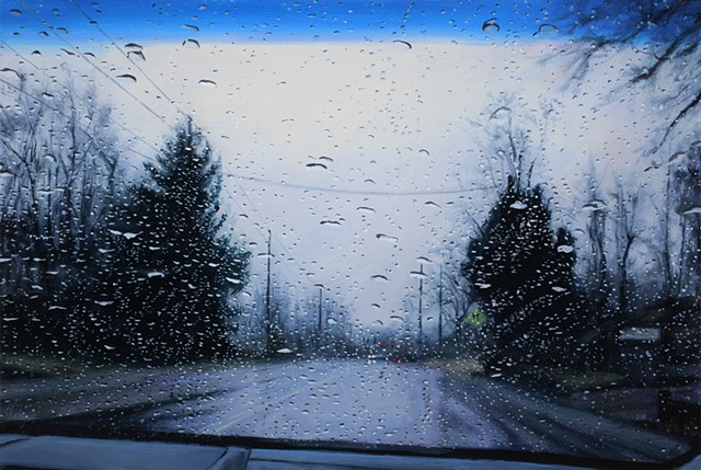 Oil painting of a road through a car windshield on a rainy day.