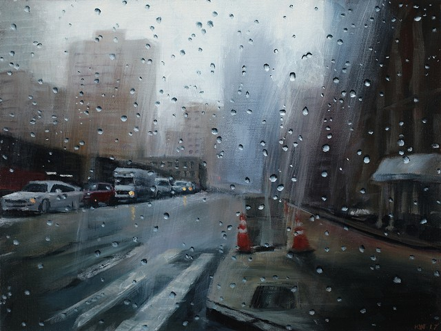 New York Streetscape oil painting in the rain
