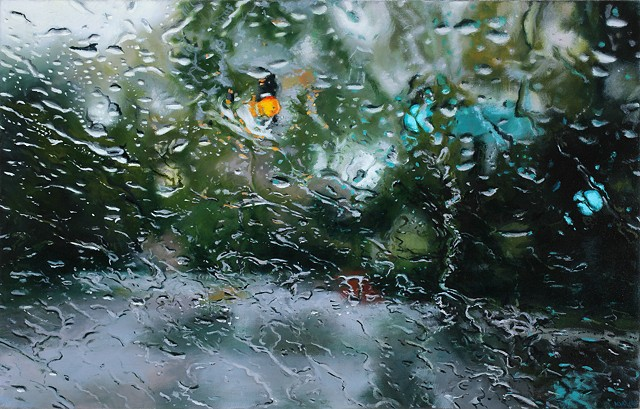 Oil painting of an intersection through a rainy car window