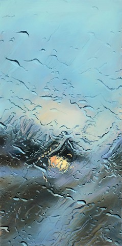 An oil painting of a rain-soaked windshield on an Idaho highway.