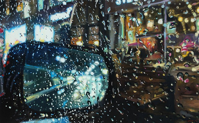 New York City streetscape in the rain, oil painting by Karen Woods