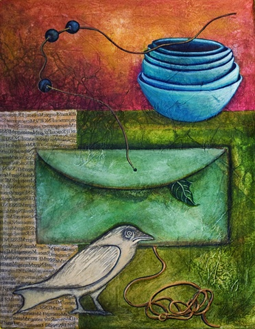 watercolor and rice paper painting bird bowls beads envelope by Linda Laino