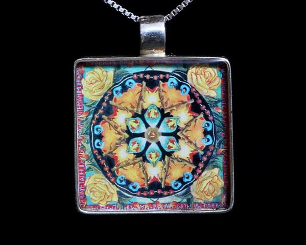 mandala, pendant, silver, jewelry