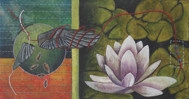 watercolor and rice paper painting wing seeds lotus by Linda Laino