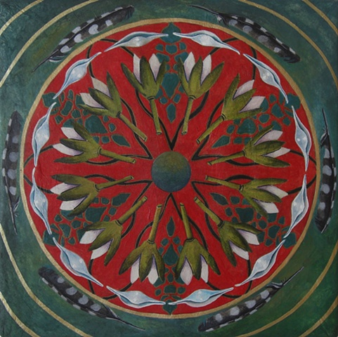 mandala nature painting flower shell feather watercolor and rice paper on board by Linda Laino