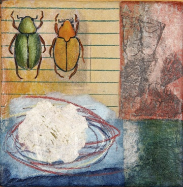 watercolor and rice paper painting beetles by Linda Laino