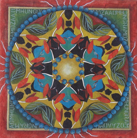 mandala nature painting, leaves mala beads mantra watercolor and rice paper on board by Linda Laino