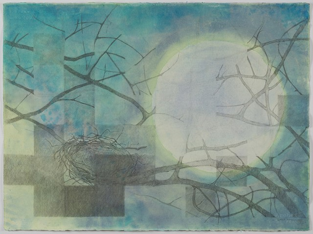 watercolor, moon, nest, pencil, drawing, painting, works on paper, graphite, mixed media