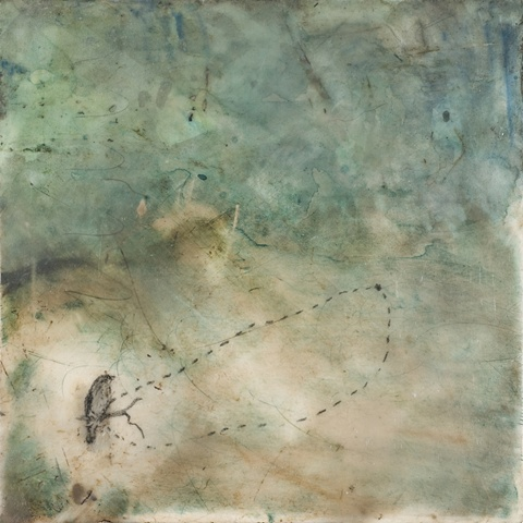 encaustic painting, birds, abstract
