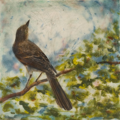 encaustic painting, birds, collage