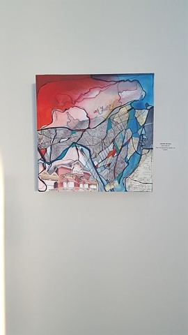 Arts in the Airport Juried Exhibition, McGee Tyson Airport, Knoxville, TN  Image: Knox Box #1, Mixed Media (pen, ink, gouache, map & paper fragments) on board, 2016