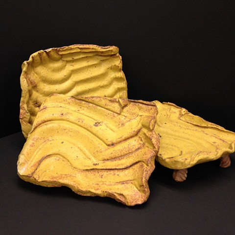 Small Footed Stoneware plates with Woo Yellow glaze