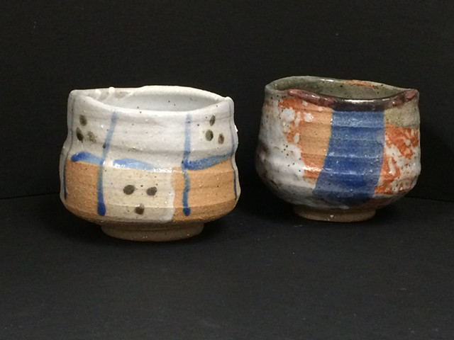 tea bowls with shino and other glazes