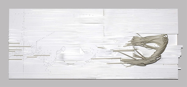 This is a stanza from the Rumi poem made spatial by layering of paper strips conveying the movement of its words