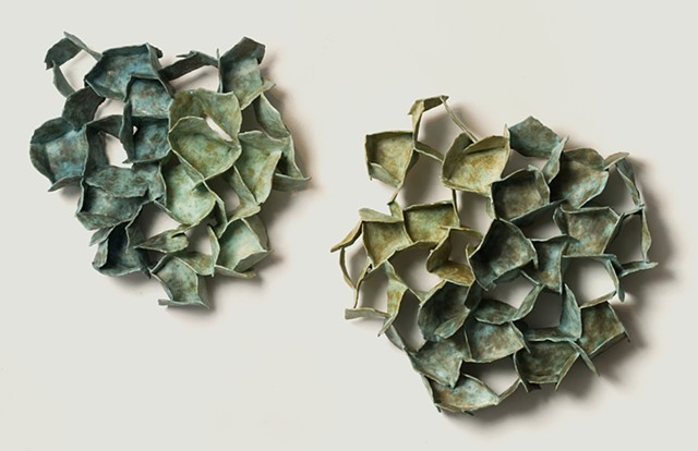 ceramic diptych: organic and abstract: paperclay