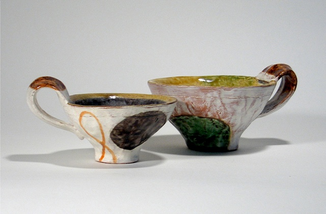 functional ceramics, cups, painted forms
