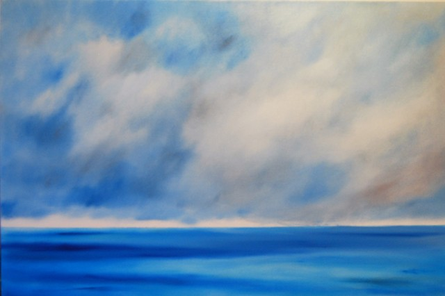 I went to the ocean to look at the sky 24x36 oil on canvas